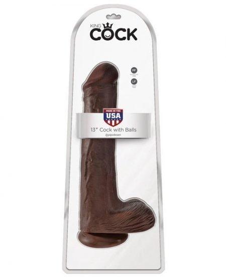 "King Cock 13"" Cock w/Balls - Brown"