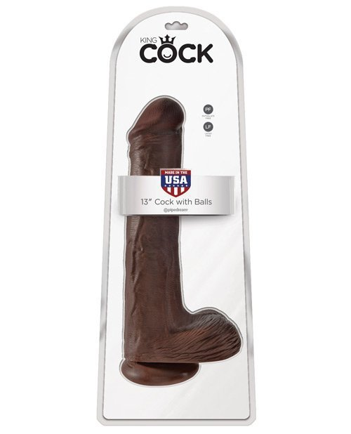 "King Cock 13"" Cock w/Balls - Brown"