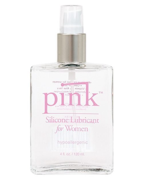 Pink Silicone Lube - 4 oz Glass Bottle