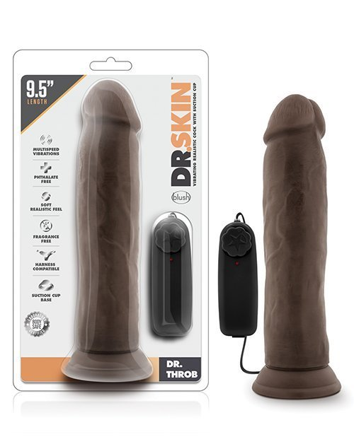 """Blush Dr. Skin Dr. Throb 9.5"""" Cock w/Suction Cup - Chocolate"""