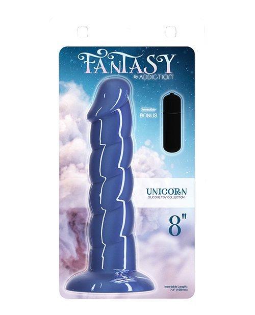 "Fantasy Addiction 8"" Unicorn Dildo - Blue"